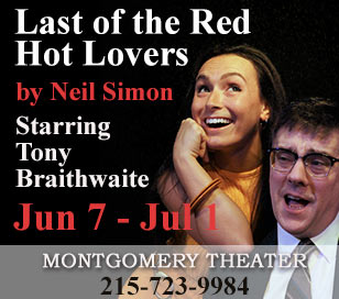 Come to the Montgomery County Theater to see The Last of the Red Hot Lovers by Neil Simon. It is a story about a middle-aged, married and overworked, Barney Cashman who wants to join the sexual revolution before it's too late. He arranges three seductions: the first, Elaine Navazio proves to be a foul-mouthed bundle of neuroses; Bobbi Michele is next, a 20-ish actress who's too kooky by half; finally comes September and Jeanette Fisher, a gloomy, depressed housewife who happens to be married to Barney's best friend. Starring Tony Braithwaite.