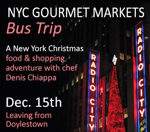 Join us for a day of food and shopping trip to New York City. The day begins at 7:30 a.m. with a continental breakfast at Conquering Cuisine. We depart at 8:00 a.m. in a comfortable coach for the Eataly and the Union Square Greenmarket. You can explore Eataly, a massive Italian market and restaurant complex. A spin-off of an operation by the same name just outside of Turin, Italy, the store is a local mecca for foodies. In addition to six full-service restaurants it offers a dizzying array of Italian specialty products, fresh fish and meats, impeccable produce and a full wine store.<BR><BR>From there, it's a short walk to the Union Square Greenmarket. Like every Saturday, the market is home to farm-fresh produce, whole-grain baked goods, fresh cheeses and many other specialty foods from Upstate New York and Pennsylvania's Amish farms. Additionally, the annual Union Square Holiday Market returns to Union Square. Over 100 merchants are on hand to bring you the most unique gifts available. You'll find booths set up for the season with hand-blown glass, leather products, bags, accessories, jewelry and more. There will also be nibbles and noshes throughout the market. Dig into German delights, sweet and savory treats, hot apple cider and all sorts of other specialty foods. We then load the bus and head to one of the country's most historic districts, Rockefeller Center. You'll experience the festive tree, holiday skaters, the fantastic window displays of the Fifth Avenue shops, Radio City Music Hall and St. Patrick's Cathedral. If you are looking to get into the holiday spirit there's no better place. We leave the city around 4:30pm; register now, spaces are limited.