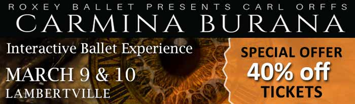 SPINSAVER DEAL - Pay only $25 per Ticket to See Carl Orff's Carmina Burana (reg $42) at the Canal Studio Theater in Lambertville. The Roxey Ballet is staging a spectacular production of Carl Orff's Carmina Burana with sound, special effects, video art and multimedia projection. Orff conceived the piece as a scenic cantata, with music and dance together. This performance will be featuring the choreography of Mark Roxey and the Roxey Ballet Company. SpinSaver is proud to produce our partnered deal with Roxey Ballet for this offer. All Performances at The Canal Studio Theater, 243 N Union St, Lambertville, NJ.